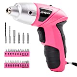 Electric Screwdriver, Hi-Spec DT30317, Cordless Pink Tool with Rechargeable 4.8V Battery & LED Light. 26 Piece...