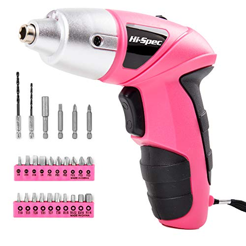 Hi-Spec Pink 4.8V Electric Cordless Screwdriver with 600 mAh NiCad Battery & 26 Piece Screwdriver and Wood Drill Bit Assortment