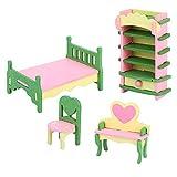 Zerodis Conjunto de Muebles de casa de muñecas de Madera para la Familia, Habitación Infantil en Miniatura Baño Dormitorio Cocina Muebles de casa Modelo Decoración de Casas de muñecas (541Bedroom)