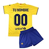 Champion's City Kit - Personalizable - Camiseta y Pantalón Infantil Segunda Equipación - FC Barcelona - Réplica Autorizada