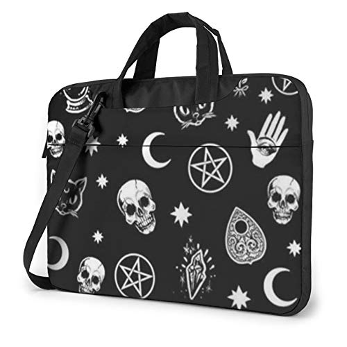 Laptop Case, Skull Cat Moon Gothic Print Laptop Shoulder Bags Multi-Functional Notebook Sleeve,13-14-15.6 Inch