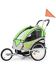Roderick - Remolque para bicicleta 2 en 1, remolque y cochecito de bicicleta, color verde y gris, dimensiones del compartimento para remolque de bicicleta: 62 x 72 x 62 cm (ancho x profundidad x alto)