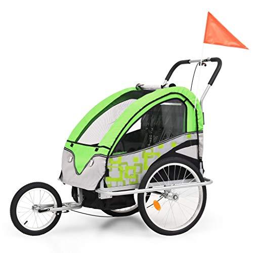 vidaXL Kinderfahrradanhänger 2-in-1 Grün Grau Fahrradanhänger Kinderanhänger