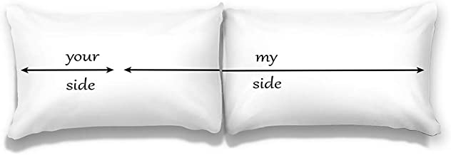 White Couple Pillowcases Set of 2, Your Side My Side Standard Size Pillow Cases 20x30 for Wedding Anniversary Couple, Girlfriend,100% Microfiber (Your Side/My Side)