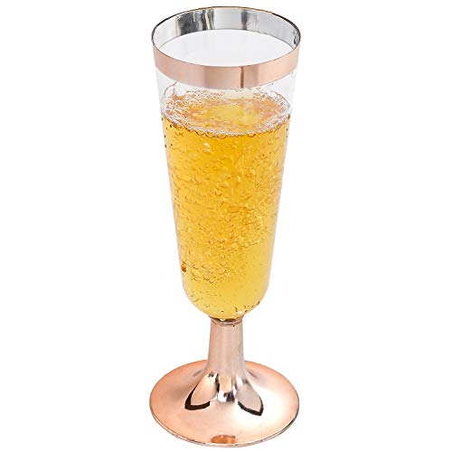 I00000 Rose Gold Champagne Flutes 50 PACK, 5 Oz Disposable Champagne Glasses, Plastic Toasting Glasses for Celebration, Wedding or Parties