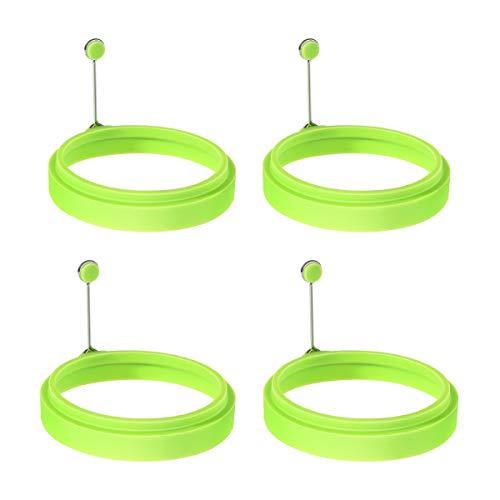 OUNONA Spiegeleiform für Bratpfanne Ei Ringe Silikon Pfannkuchenform Rund Grün Omelett Form Für Eier Kochen (Kreis)