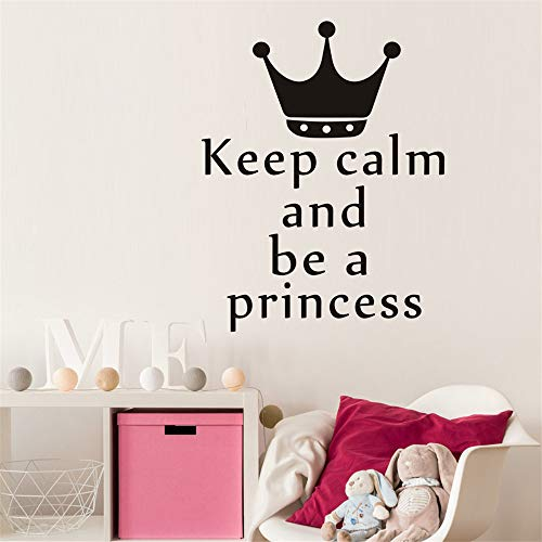 lanken Removable Wall Decals Inspirational Vinyl Wall Art Keep Calm and Be A Princess Home Decor Crown for Girls Nursery Decorative
