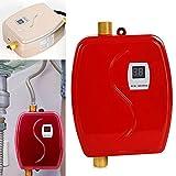 Tanklose Elektrischer Warmwasserbereiter 3800W 220V,Elektro-Durchlauferhitzer, Sofortiger Thermostat Küchenwaschhahn für Bad Waschbecken und Küchenspüle (Rot)