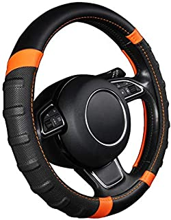 AUTOYOUTH car Steering Wheel Cover, Anti-slip Microfiber Leather Universal Fit for Car, SUV, Truck Heavy Duty, Anti-Slip, Excellent Grip Standard Size 15 inch, Orange/Black