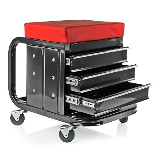 deiwo Tabouret d'atelier à roulettes - Capacité de charge : env. 135 kg - 48 x 35 x 43 cm - Trois tiroirs pour outils