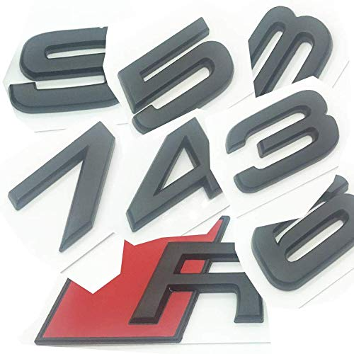 OEM ABS Nameplate compatible for Audi RS 3 4 5 6 7 8 Rs3 RS4 Rs5 Rs6 Rs7 Rs8 Matte Black Emblem 3D Trunk Logo Badge Compact (RS4)