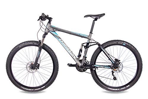 CHRISSON 27,5 Zoll Mountainbike Fully – Hitter FSF grau blau – Vollfederung Mountain Bike mit 30 Gang Shimano Deore Kettenschaltung – MTB Fahrrad für Herren und Damen mit Rock Shox Federgabel - 2