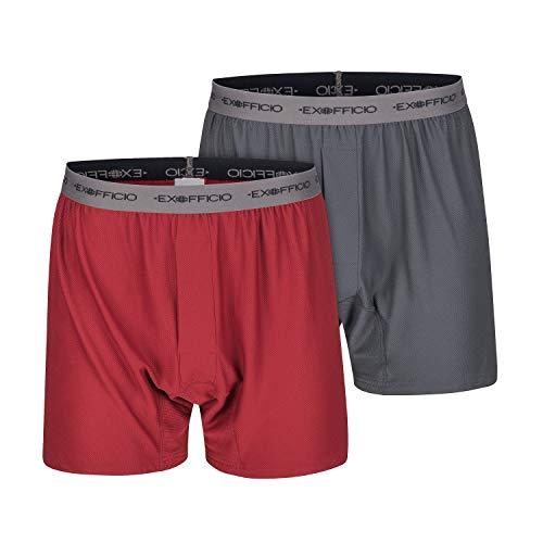 ExOfficio Men's Give-N-Go Boxer 2 Pack, Granite/Bolero Red, Small