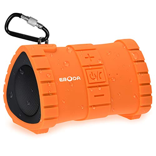 EBODA Waterproof Bluetooth Shower Speaker, Portable IP67 Floating Outdoor Speaker with 6W Crisp Sound, Built-in Mic, Hands-Free Calls, 2000mAh, 24H Playtime for Pool, Beach, Hiking, Camping- Orange