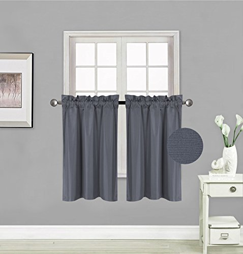 """Elegant Home 2 Panels Tiers Small Window Treatment Curtain Insulated Blackout Drape Short Panel 28"""" W X 36"""" L Each for Kitchen Bathroom or Any Small Window # R5 (Charcoal)"""