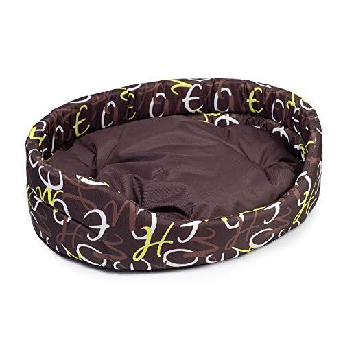 BOUTIQUE ZOO Hundebett | Oval Hundekissen für Hunde oder Katzen | Kratzfest Hundeliege mit Kissen | Hundekorb | Waschbar Polyester (XL: 71 x 60 cm, Braun mit Muster)