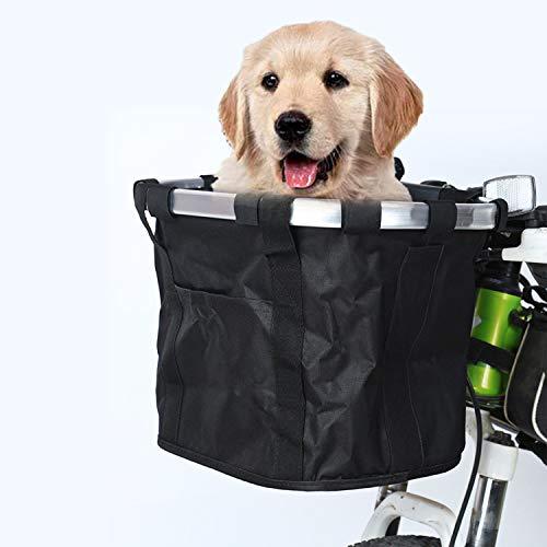 Fahrradkorb Vorne, Fahrradkorb für Hunde, Fahrradtasche Lenkertasche, Faltbarer Fahrradkorb Vorne, Wasserdichter, Metall-Aluminium-Rahmen-Organizer für Shopping, Pendler, Camping und im Freien