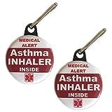 Asthma Inhaler Inside Bag Tag Medical Alert Zipper Pull Set 2pcs