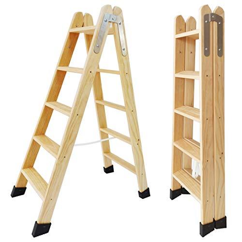 Escaleras Tijera de Madera Pino Doble Subida Certificadas. Ideal para Profesionales Pintor, Escayolista, Electricista o hasta para su hogar! (5 Peldaños)