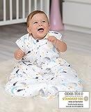 BISOO Saco de Dormir Bebe Invierno- 2.5 TOG 100% algodón - Certificado Oeko-Tex - Unisex para Bebés - Longitud Ajustable para Bebé (0-6 Meses (70cm), Noche Estrellada)