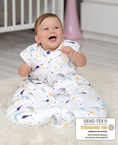 BISOO Sacco Nanna Neonato Invernale 2.5 TOG 0-6 Mesi - Sacco a Pelo Bambini - 100% Cotone Certificato OEKO-TEX Standard 100 (L'interno è Jersey) - Design Unisex Notte Stellata (70cm)
