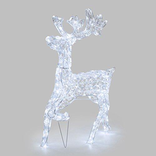 XMASKING Figura Luminosa, Renna Galoppante Con Cristalli Trasparenti, H. 85 Cm, 200 LED Bianco Freddo, Luce Fissa, Esterno