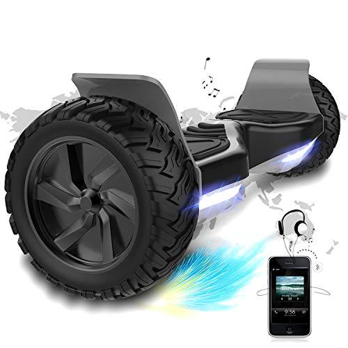 Hover Scooter Board SUV de 8,5 Pulgadas, Todo Terreno 700 W, Función APP, Bluetooth y LED, Equilibrio Automático de Patinete Eléctrico para Niños y Adultos