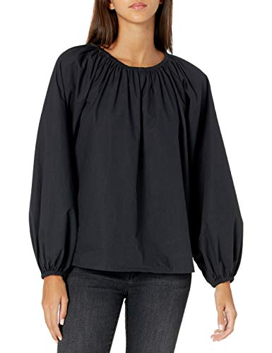 The Drop Women's Florence Loose Gathered Neck Balloon-Sleeve Poplin Top