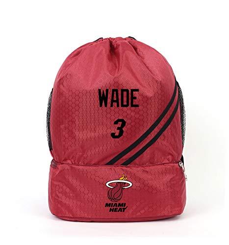 Haoshangzh55 Basketball Fans Sport Rucksack Miami Heat # 3 Dwyane Tyrone Wade Outdoor-Freizeit Doppelt-Schulter Polyester Basketball-Tasche Training Bag