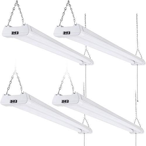 LEONLITE Linkable LED Shop Light, 4FT 40W Ceiling Lights for Garage, Basement, Workshop, with Pull Chain, ETL-Listed, 5000K Daylight, Pack of 4