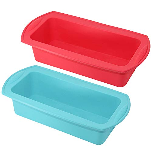 Bread Pan, Capseat 2 Pcs Reusable Nonstick Silicone Bread Loaf Pan for Homemade Cakes, Breads, Meatloaf and Quiche
