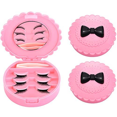 3 Stücke Falsche Wimpern Hüllen Rosa Schleife Wimpern Aufbewahrungsbox Wimpern Kunststoff Aufbewahrung Koffer für Frauen Mädchen Schminken Reise Aufbewahrung Zubehör