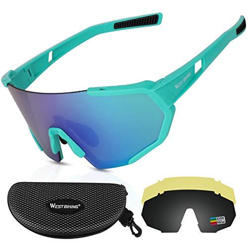 WESTLIGHT Fahrradbrille Herren Winddicht,UV400 Schutz Sonnenbrille Damen Polarisiert Groß,Anti-Glare Sportbrille Damen,Fahrrad Brillen Herren Photochrom für MTB BMX,Outdoor Brille mit Wechselgläsern