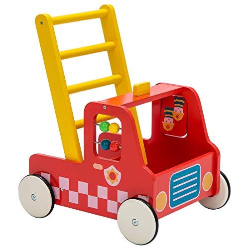 Primi Passi Legno, Carrello da passeggio multifunzione, Camion dei pompieri rosso Primi Passi per 1-3 Anni, Primi Passi per Bambini Legno/Carrello Legno Bambini/Primi Passi