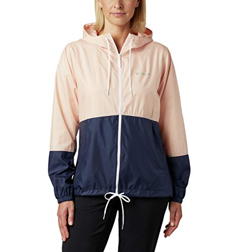 Columbia Women's Flash Forward Windbreaker, Water & Stain Resistant, Peach Cloud/Nocturnal, X-Large