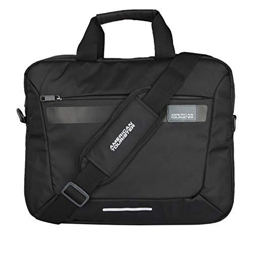 American Tourister Unisex Amt Rexton 01 Black Lightweight Laptop Messenger Bag with Multiple Organizer (Black)