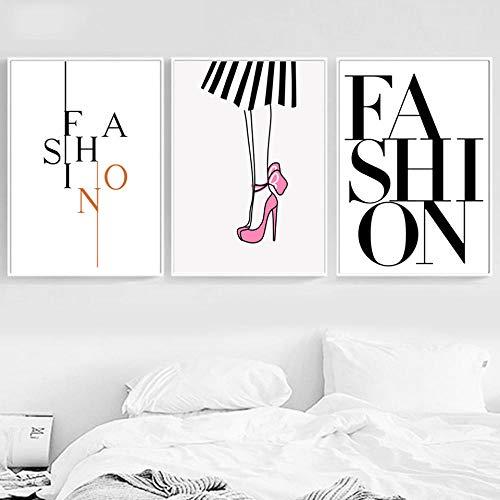 hdbklhjxk canvas gedrukt afbeelding muurkunst cartoon modestijl hoge hakken Nordic poster schilderij huis decoratie module meisje slaapkamer 40x60cmx3 niet ingelijst