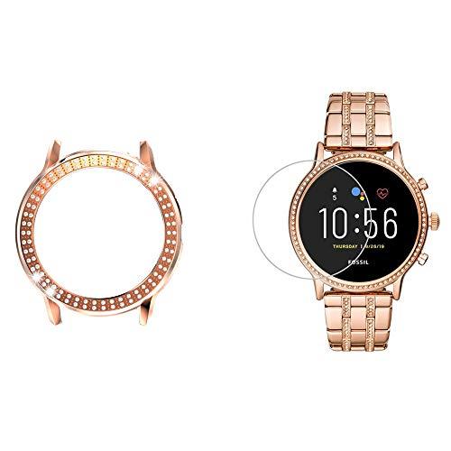 LvBU Schutzhülle & Bildschirmschutzfolie Kompatibel für Fossil gen 5 Julianna HR Smartwatch, Kristall Diamant Silikon Hülle, gehärtetes Glas schutzfolie [2 Stück] (Schwarz Hülle+Folie*2)