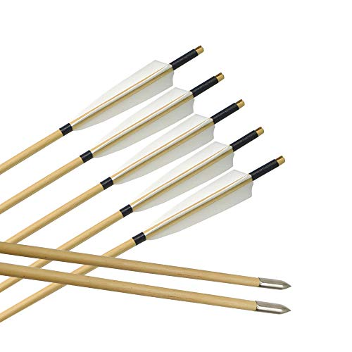 ZSHJG Tiro al Arco Flechas de Madera Plumas de Pavo Tradicional Flechas de Eje de Madera por Arco recurvo Longbow (12 Piezas)