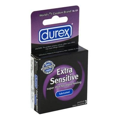 Durex Extra Sensitive Ultra Thin Lubricated Latex Condoms - 3 ct, Pack of 2