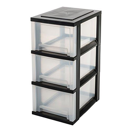 IRIS, Schubladenschrank / Schubladenbox / Rollwagen / Rollcontainer / Werkzeugschrank 'Smart Drawer Chest', SDC-303, mit Rollen, Kunststoff, schwarz / transparent