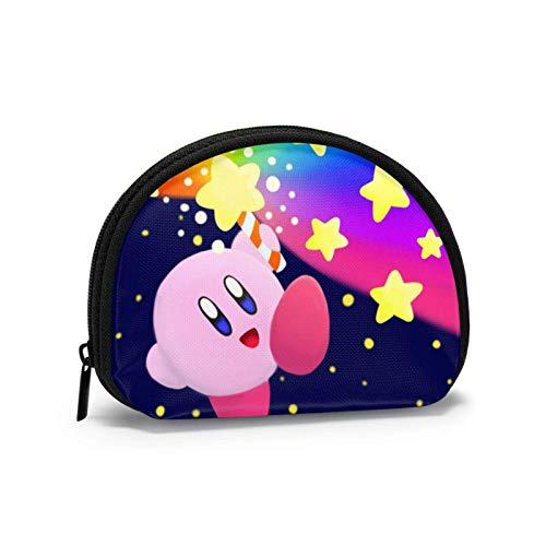 Kirby - Cartera portátil para mujer, diseño de conchas, bolsa de almacenamiento para joyas, llavero y auriculares multifuncionales