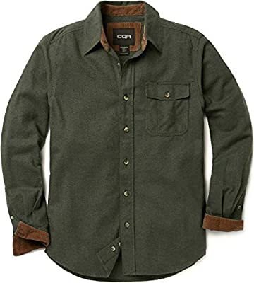 CQR Men's All Cotton Flannel Shirt, Long Sleeve Casual Button Up Plaid Shirt, Brushed Soft Outdoor Shirts, Corduroy Lined(hof110) - Hunter Green, Large
