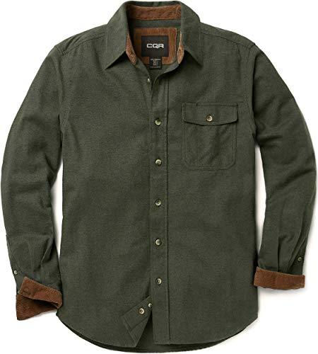 CQR Men's All Cotton Flannel Shirt, Long Sleeve Casual Button Up Plaid Shirt, Brushed Soft Outdoor Shirts, Corduroy Lined(hof110) - Hunter Green, Medium