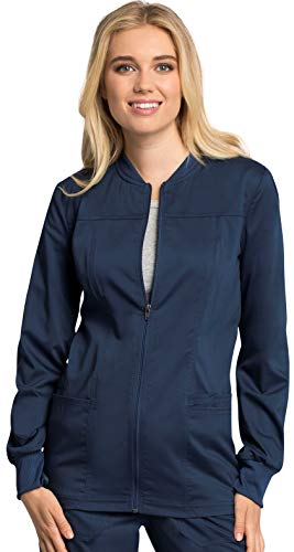 CHEROKEE Workwear Revolution Tech WW305AB Women's Zip Front Warm-Up Jacket, Navy, Large