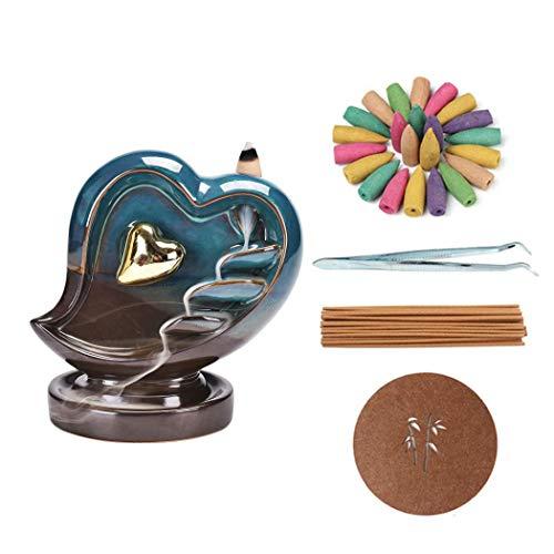 Love Heart Decor - Quemador de incienso con forma de cascada de cerámica con conos de incienso, varillas de incienso, pinzas, alfombrilla para el hogar, oficina, dormitorio, regalo