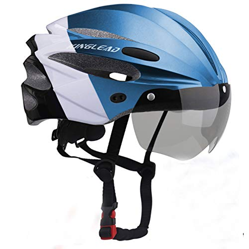 Kinglead Casco da Bici con Luce Ricaricabile e Visiera magnetica Certificata Ce Unisex Protetta per Ciclismo Equitazione Sport All'aperto Sicurezza Super-light Regolabile