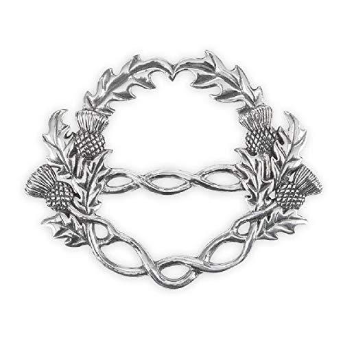 AE Williams Stunning Pewter Scottish Thistle & Celtic Knot Interlace Scarf Sash Ring