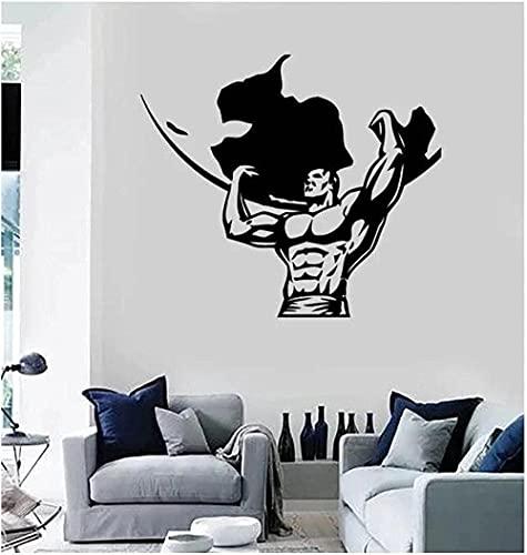 Art Deco autoadhesivo vinilo pared pegatina Fitness Hércules suelo de elevación decoración de moda artículos de gimnasio 65X57Cm