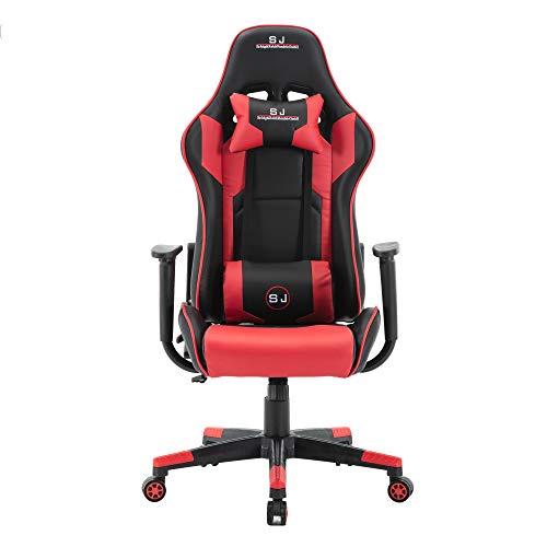 LD-Trend Gaming Stuhl Racing Bürostuhl Schreibtischstuhl Drehstuhl Sportsitz Chefsessel Gamingstuhl (Rot-Schwarz)